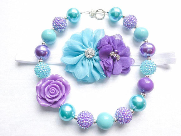 Aqua & Purple Rose Necklace