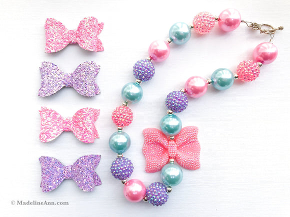 Sparkly Pink Rhinestone Bow Necklace