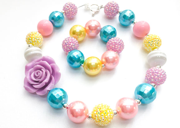Pastel Mix Mauve Rose Bubblegum Necklace