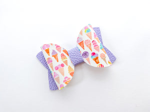 "Ice Cream Cones  ~  2.5"" Pigtail Bow"