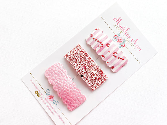 Candy Canes Scalloped Snap Clip Trio