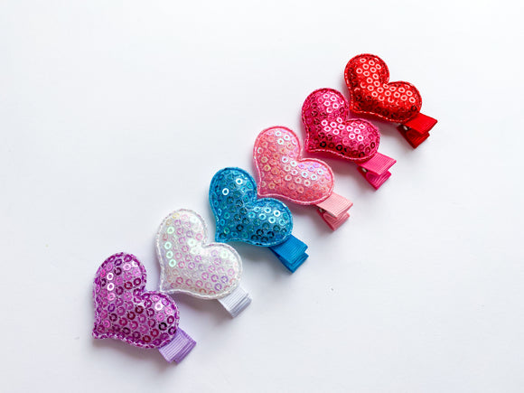 Sequin Hearts Clips