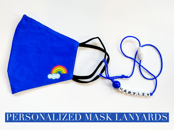 Personalized Mask Lanyard ~ Black & White Letters