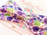 Purple Floral Twist Headband