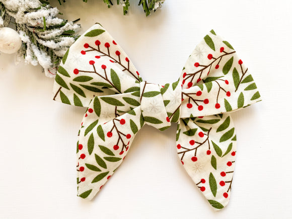 Holly Berry Cotton Bow