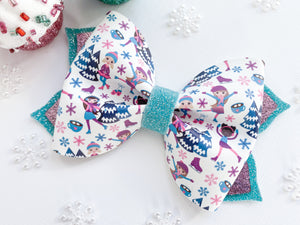 "Ice Skaters ~  4"" Blossom Bow"