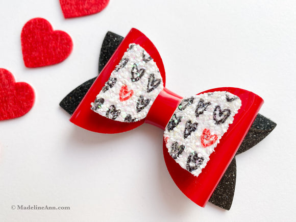 "Sparkle Hearts ~  3"" Maddie Bow"