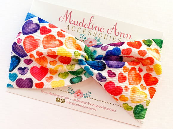 Rainbow Hearts Twist Headband