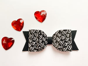 "Black & White Hearts~  5"" Audrey Bow"