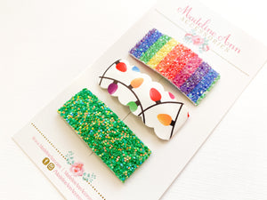 Christmas Lights Scalloped  Snap Clip Trio
