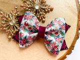"Winter Floral ~  4"" Blossom Bow"