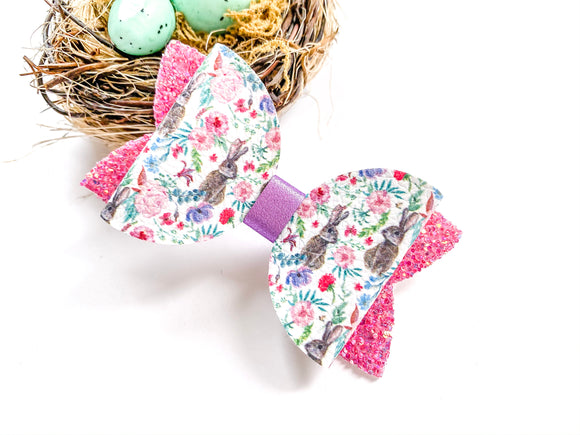 "Floral Bunny ~ 3"" Maddie Bow"