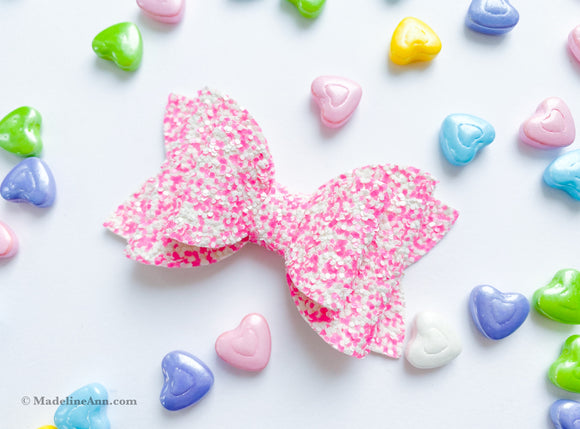 "Sweetheart Glitter ~  3"" Maddie Bow"