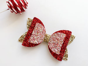 "Peppermint Glitter ~  5"" Layered Jumbo Maddie Bow"