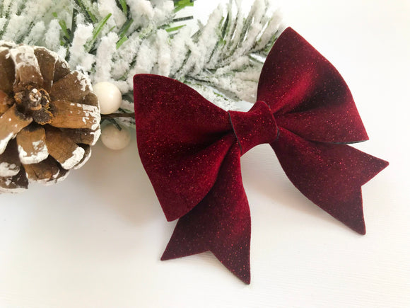 Cranberry Velvet ~ Sailor Bow
