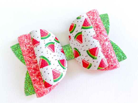 "Watermelon  ~  5"" Layered Jumbo Maddie Bow"