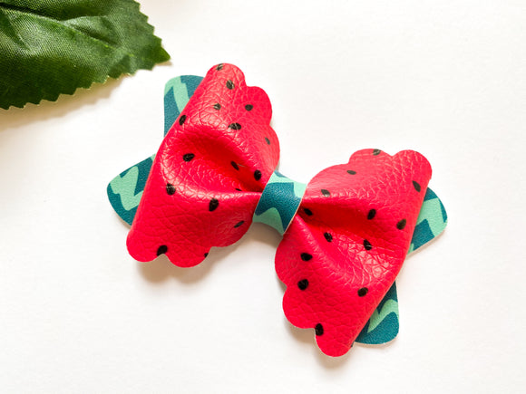 Watermelon Scalloped Bow