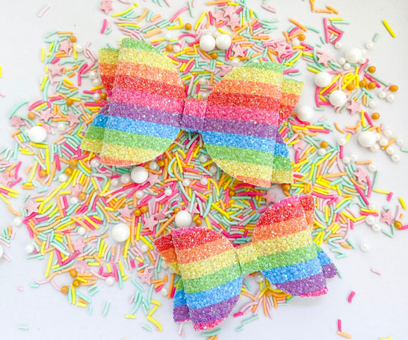 "Rainbow Sour Belts~   4"" & 3""Maddie Bow"