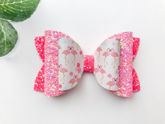 "Flamingos ~  4"" Layered Maddie Bow"