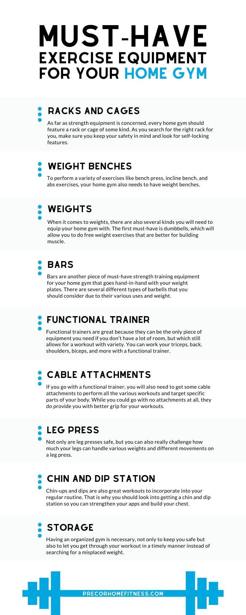 Here are the must-haves in exercise equipment for your home gym that will not only fit your space, but will also help you save and get the most out of its use.