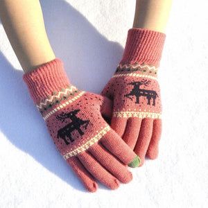 Elk Snowflake Printed Knitted Touchscreen Glove