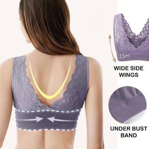 Breathable sports lace bra