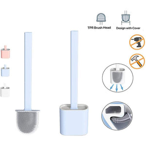 Silicone Toilet Brush with Wall Mounted Quick Drying Holder