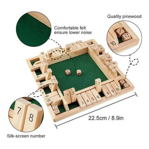 4-Player Shut The Box Wooden Table Dice Game