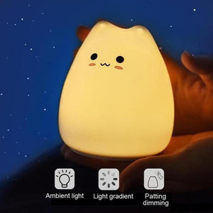 Cute Silicone Cat Lamp Touch-Control Kids Bedside Lights