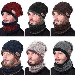 Winter Warm Knitted Hat With Circle Scarf