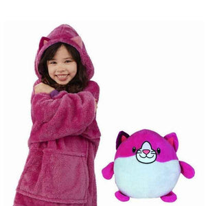 2-in-1 Plush Stuffed Animal Oversized Hoodie for Kids
