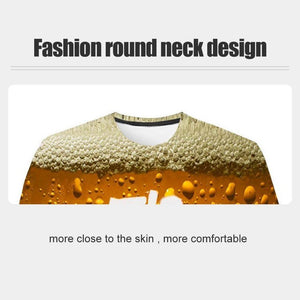 New Fashion 3D Print Beer Bubble Short Sleeve T-Shirt
