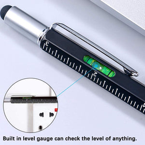 Multitool Pen Set with Screwdriver, Ruler, Level Gauge, Touch Screen Stylus, Ball Pen