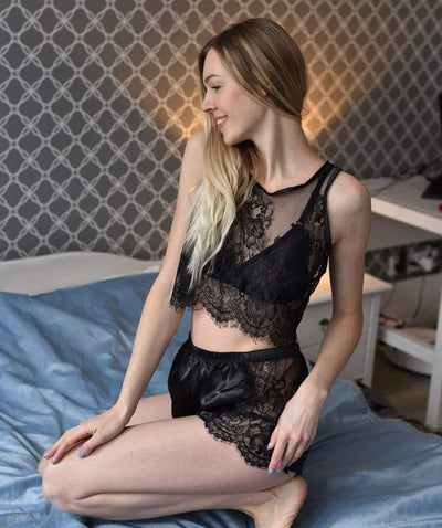 Pyjama short sensuel Crop Top transparent Pyjama-femme.com