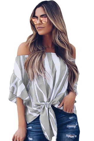 Off-Shoulder Blouse - Grey