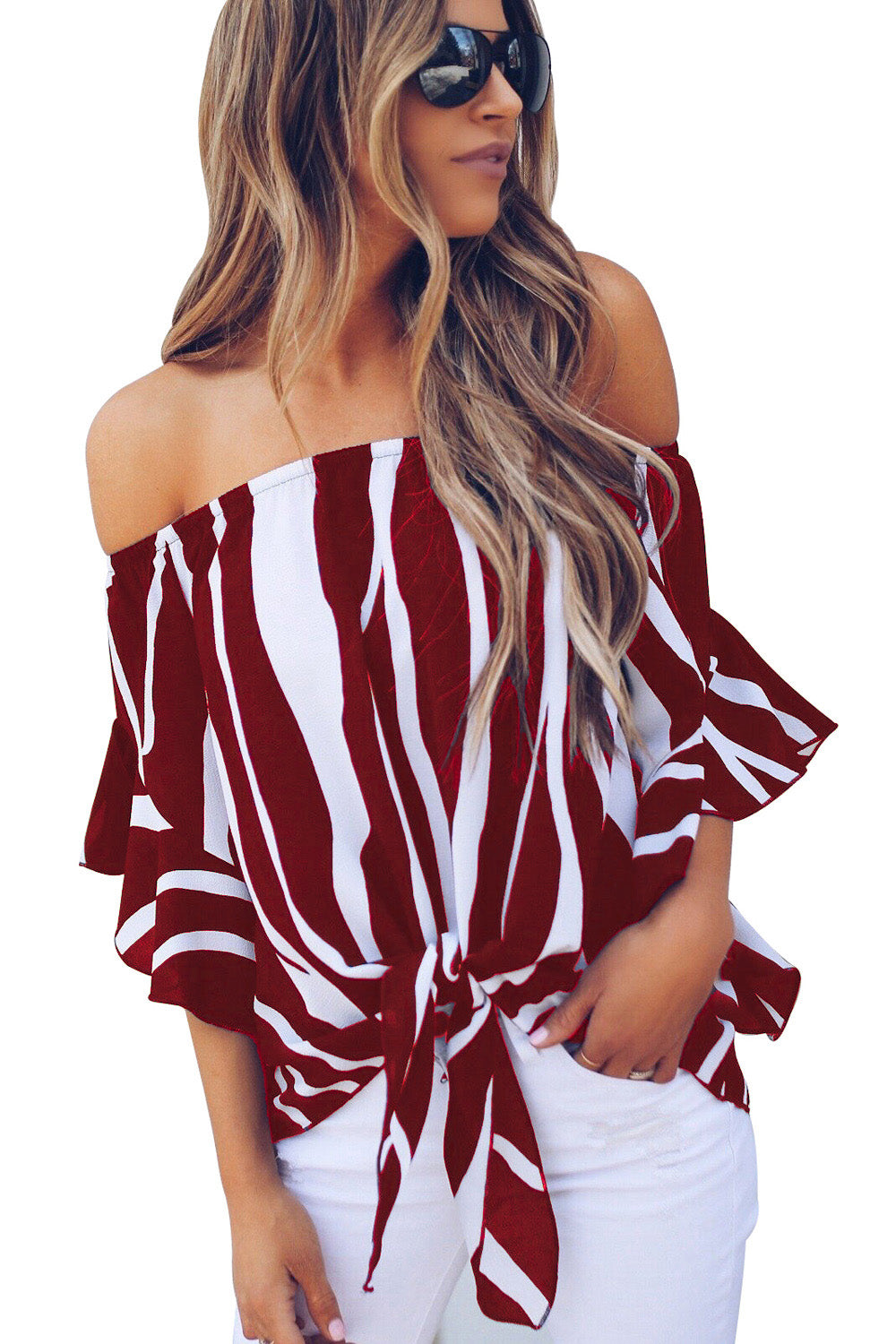 Off-Shoulder Blouse - Burgundy