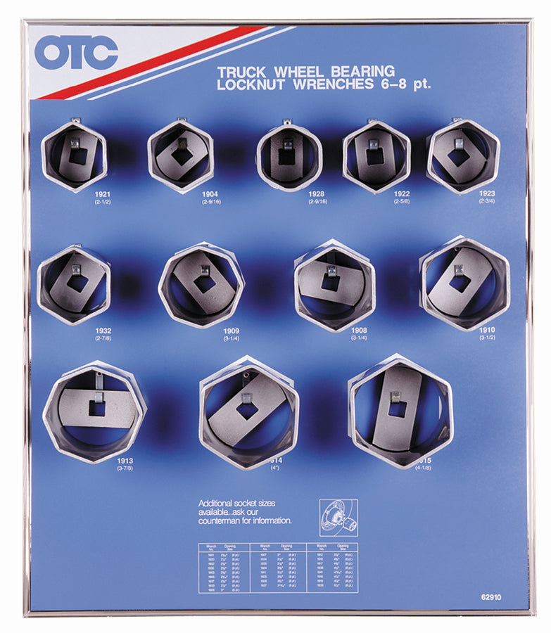 OTC-9852 Wheel Bearing Locknut Sockets with Display Board, 6-Pt. & 8-Pt.