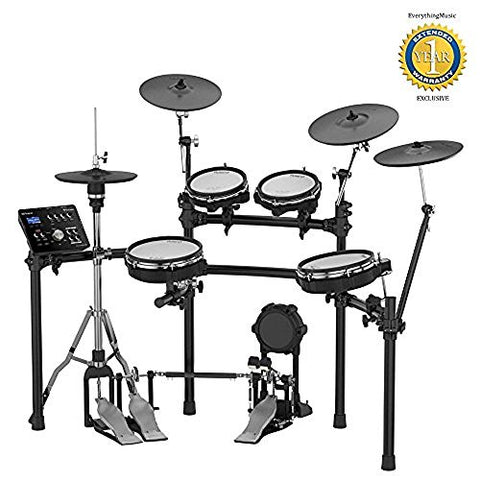 "Roland High-performance, Mid-level Electronic V-Drum Set (TD-25KV) with 10"" snare pad, 8"" tom pad (x2) and 10"" tom pad (x1), 12"" crash v-cymbal (x2), KD-9 kick pad, and MDS-9SC stand"