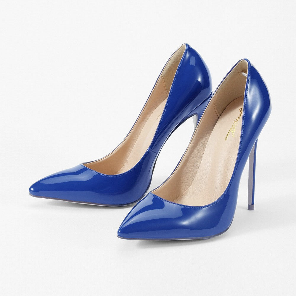 GENSHUO Sexy Women High Heels Shoes Stiletto High Heels Women Pumps Shoes  Navy Blue Pointed Toe 9109d82018b0