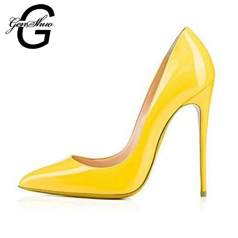 GENSHUO Yellow High Heels Pumps Shoes Women Pointed Toe Lacquer 10 12cm  Sexy Heels Party Wedding 0e3e8bfcaec4