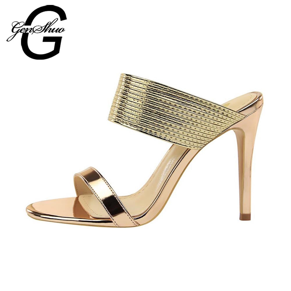 GENSHUO Designer Shoes Women Luxury 2018 Women Open Toe Sandals High Heels  Summer Shoes Black Rose dfc3bc92f113