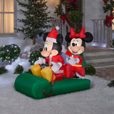 Gemmy Airblown Inflatable Mickey Mouse and Minnie Mouse Sledding