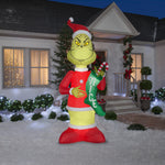 Gemmy Giant Airblown Inflatable Grinch with Nice Stocking
