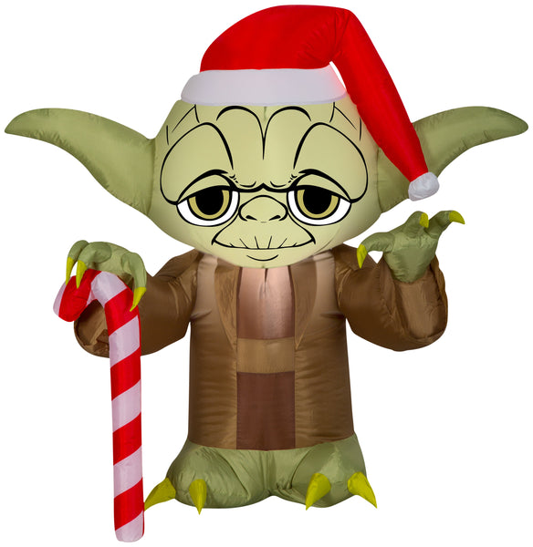 Gemmy Airblown Inflatable Yoda in Santa Hat