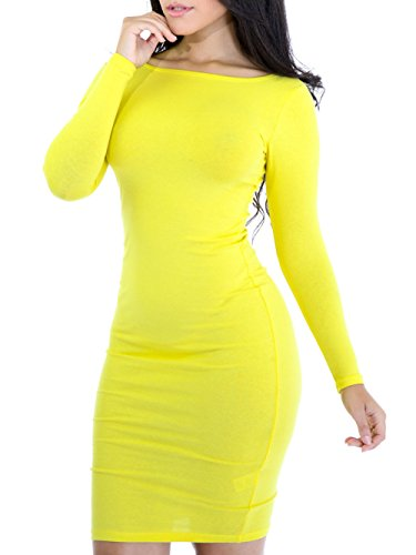 FACE N FACE Women's Knitting Sexy Casual Long Sleeve Short Dress