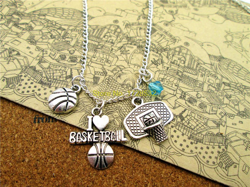 fashion basketball  necklace, sports necklace, Antique silver I love basketball ,basketball hoop,basketball  necklace