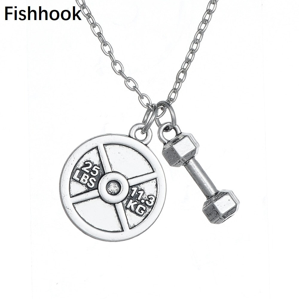 Fishhook steampunk Fitness 25LB Weight Plate Dumbbell Pendants Necklace Bodybuilding mens necklace gym jewelry Fitness necklace