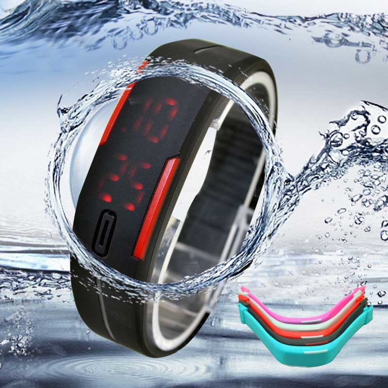 LED Sports Watch Thin Men Girl Sports Silicone Digital LED Sports Bracelet Sport Watches Waterproof Children Boy Kids Alarm