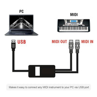 USB to MIDI Interface Adapter Cable Converter For PC Music Keyboard Synth  Adapter Windows & Mac iOS 2 Meters