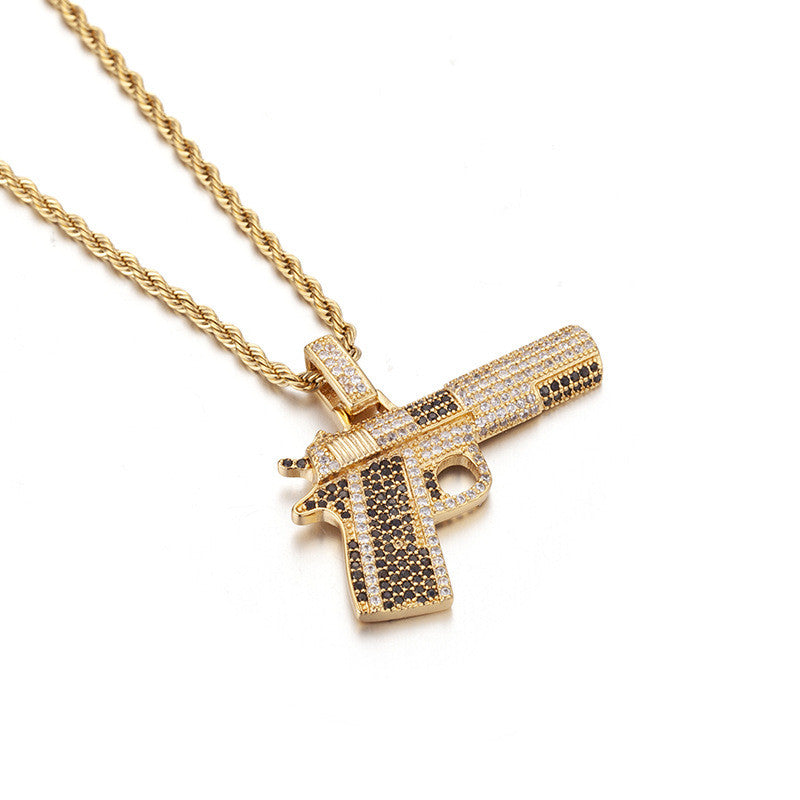 Small Pistol Pendant Necklace For Men Gifts New Fashion Hip Hop Jewelry Cubic Zirconia Mens Necklace